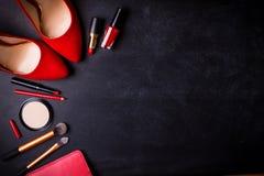 Fond noir cosmétique Photographie stock libre de droits