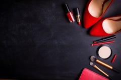 Fond noir cosmétique Photos stock