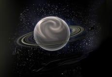 Fond noir d'étoile avec une planète importante au centre Photo libre de droits