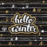 Fond noir d'hiver avec les arbres drôles et l'hiver tiré par la main de mots bonjour illustration libre de droits