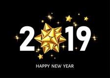 fond noir de 2019 bonnes années avec l'arc d'or de cadeau illustration de vecteur