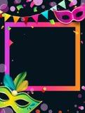 Fond noir de carnaval avec les masques et les confettis colorés illustration de vecteur