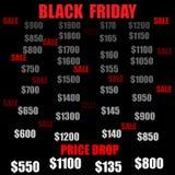 Fond noir de chute des prix de vente de vendredi Illustration de vecteur Photo stock