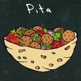 Fond noir de conseil Pain pita de Falafel ou salade de boulette de viande en pain de poche Israel Healthy Fast Food Bakery arabe  Photographie stock libre de droits