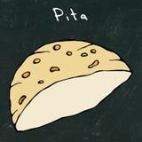 Fond noir de conseil Pita Pocket Bread Israel Healthy Fast Food Bakery arabe Nourriture juive de rue Illust tiré par la main réal illustration de vecteur