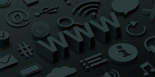Fond noir de 3d WWW avec des symboles de Web illustration de vecteur