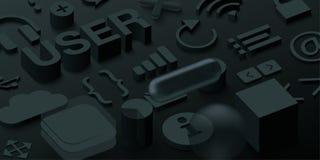 Fond noir de l'utilisateur 3d avec des symboles de Web illustration libre de droits