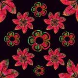 Fond noir de modèle de vecteur, rouge et vert, simple sans couture floral illustration de vecteur