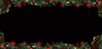 Fond noir de Noël avec l'espace vide de copie Cadre décoratif de Noël pour le concept ou les cartes Photographie stock
