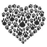 Fond noir de patte de coeur illustration libre de droits
