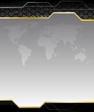 Fond noir de pointe avec la carte de la terre Photo libre de droits
