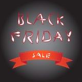 Fond noir de tache floue de vendredi avec le ruban rouge d'arc Photo libre de droits