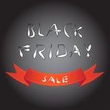 Fond noir de tache floue de vendredi avec le ruban rouge de courbe Photographie stock