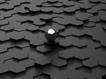 Fond noir des hexagones 3d et de la sphère en acier Image stock
