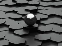 Fond noir des hexagones 3d et de la sphère en acier Images libres de droits