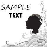 Fond noir et blanc abstrait avec la silhouette d'une t?te femelle illustration stock
