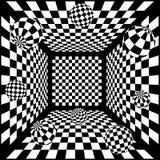 fond noir et blanc abstrait des échecs 3D avec Photographie stock