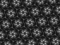 Fond noir et blanc de kaléidoscope de mosaïque de modèle Images stock
