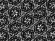 Fond noir et blanc de kaléidoscope de mosaïque de modèle Photographie stock