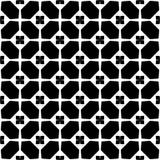 Fond noir et blanc géométrique floral sans couture décoratif de modèle Images libres de droits
