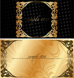 Fond noir et d'or de cache. Images stock