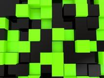 fond noir et vert de 3d de cubes Illustration de Vecteur