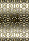 Fond noir gris d'or de modèlede wavyfloral sans couture d'onPhotographie stock