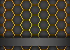 Fond noir moderne avec l'hexagone Images libres de droits