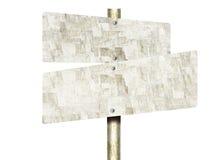 Fond non peint de blanc de Tin Road Signs Isolated On Photographie stock libre de droits