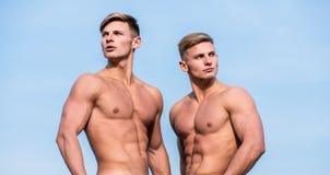 Fond nu de ciel de support de torse de coffre musculaire d'hommes Les muscles forts soulignent la sexualité de masculinité Forme  image libre de droits