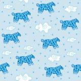 Fond, nuages et chevaux bleus Image libre de droits
