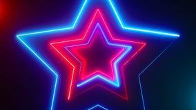 Fond numérique abstrait avec les étoiles au néon Rendu de l'animation 3d de CG. illustration libre de droits