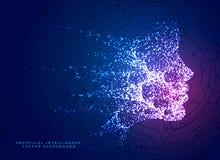 fond numérique de concept de technologie de visage de particules pour l'artifici illustration stock