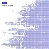 Fond numérique de modèle de mosaïque bleue carrée de pixel Photographie stock