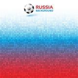 Fond numérique de pixel bleu rouge lumineux de gradient La Russie 2018 couleurs de drapeau Icône de ballon de football Illustrati Photos stock