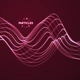 Fond ondulé Rangée avec les particules dynamiques Composition avec l'effet de mouvement style de la technologie 3D illustration libre de droits