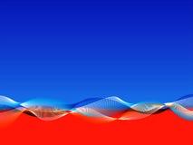 Fond ondulé rouge et bleu Image libre de droits