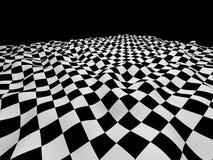 Fond onduleux noir et blanc à carreaux Photo stock