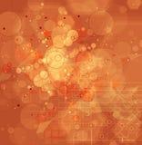 Fond orange abstrait de technologie de triangle de maille Photo stock