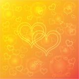 Fond orange abstrait de vecteur avec des coeurs Photos stock