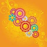 Fond orange avec des fleurs illustration libre de droits