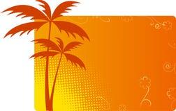 Fond orange avec des paumes Photo libre de droits