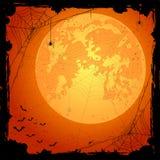 Fond orange de Halloween avec des araignées et des battes illustration de vecteur