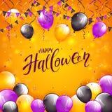Fond orange de Halloween avec des ballons et des fanions illustration libre de droits