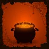 Fond orange de Halloween avec le breuvage magique illustration de vecteur