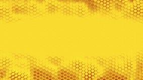 Fond orange de hexagrid avec l'endroit pour le texte ou le logo Mouvement de vagues lent boucle clips vidéos
