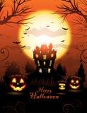 Fond orange de maison hanté par Halloween illustration libre de droits