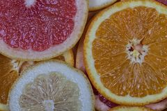 Fond orange de pamplemousse et de citron Images stock