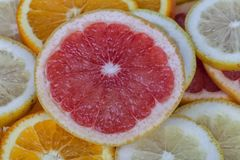 Fond orange de pamplemousse et de citron Photos libres de droits