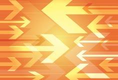 Fond orange dynamique des flèches de opposition Images stock